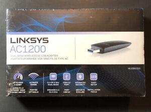 Linksys Dual Band Wireless-AC USB Adapter AC1200 NEW