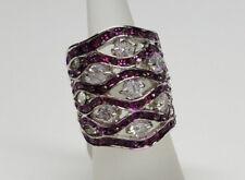 Fashion Ring Women Girl Size 7 New Pretty Sparkling Purple & White Crystals Big