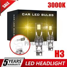 Pair H3 Auto Car LED Headlight Fog Light Bulb Driving DRL Lamp 110W 3000K Canbus