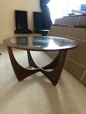 Vintage Retro G Plan Teak and Glass Round Coffee Table, Used Condition