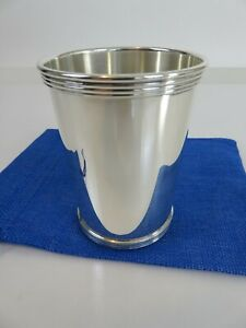 PREMIUM International Silver Co. Sterling Kentucky Mint Julep Cup & Pouch c1940s