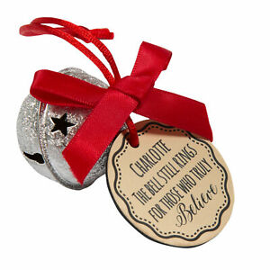 Personalised believe jingle bell from santa, silver bell, Christmas bell
