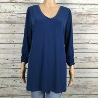 Susan Graver Ruched 3/4 Sleeve Tunic Shirt Top MEDIUM Blue V-neck Jersey Knit