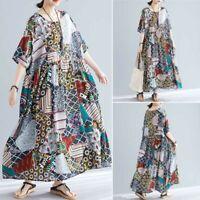 ZANZEA Women Long Shirt Dress Floral Print Batwing Full Length Maxi Dress Plus
