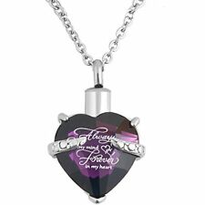 Heart Cremation Urn Necklace for Pet Human Ashes Urn Jewelry Memorial Pendant wi