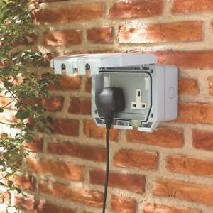 LAP 13A 2GDP IP66 Switched Electric Plug Wall Outdoor Socket Weatherproof Garden