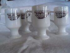 Vintage 5 Tennessee Coffee Milk Glass Pedestal Coffee Mugs George Dickel Recipe