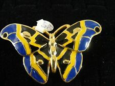 BUTTERFLY BROCHE GOLD OUTLINE AND SAPHIRE COLORED WINGS
