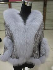 Elegance/Real best Fox collar Mink fur knitted wraps with sleeves /coat/gray