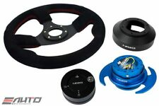 NRG 320mm Race Suede Steering Wheel Red/141 Hub/3.0 Blue Quick Release/Lock Matt