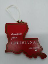 Louisiana State Shaped Vintage Wooden Map Christmas Tree ORNAMENT New Orleans