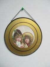 """Antique Victorian Lithograph Chimney Flue Cover  7 3/4""""- Two Girls in Hats"""