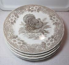"Queen's Myott Factory ""Thanksgiving Brown"" *4 Dinner Plates* 10"" Exc"