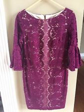 Danny & Nicole Elbow Bell Sleeve Lace Dress Wine / Nude Size 8 - NWT
