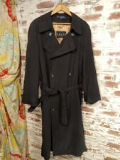 Ralph Lauren men's size 38 R Black trench coat lined double breasted