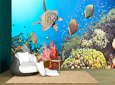 Under Water Turtles Fish Sea Coral Photo Wallpaper Wall Mural GIANT WALL DECOD