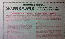 Snapper Lawn Mower SV182 V182 V1825 SV212 Owner, Service, Parts Manual 8pg 1977