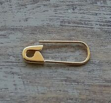 3/4 Inch 14K Yellow Gold Safety Pin Brooch Cartilage Earring Gift For Her