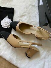 CLASSIC CHANEL 39 8.5 Two-Tone Beige Black Leather Slingback Pumps SHOES sandals