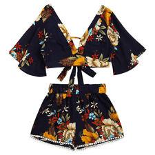 Casual Two Piece Set Women Botanical Print Summer V Collar Top Shorts Beachwear