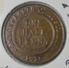 "1928 Halfpenny Choice UNC Large Dots in Front of ""F"" RARE Variety"