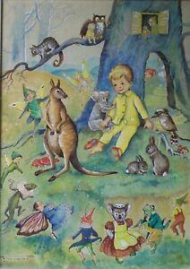 Pixie O'Harris signed Original Framed Painting Fairies Pixies Kangaroo Koala &