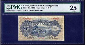 Latvia 5 lati  1940  PMG VF 25