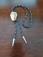 """34"""" Black & Silver Cord Bolo Tie W/Agate Slice Pendant K"""