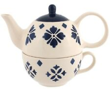 Tea For One Tea Pot and Cup Set Beautiful Moroccan Style Cream Blue Hand Painted