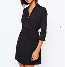 Black Vero Moda dress silky wrap effect size S 8-10