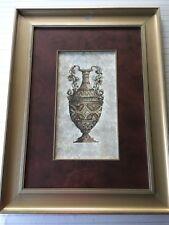"""Greek Vase/Urn Handcolored Lithograph Art Print, Framed, 9"""" x 17"""" (Image)"""