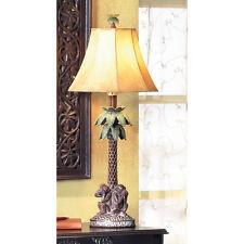 2 TABLE LAMP TROPICAL PALM TREE BAHAMA SPEAK NO EVIL MONKEY LAMPS NEW~36001