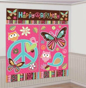 HIPPIE CHICK Scene Setter Happy Birthday party wall decor peace sign butterfly