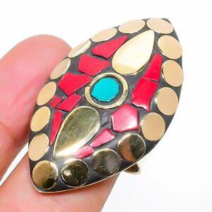 Tibetan Turquoise, Coral Handmade Gemstone Jewelry Ring Size Adjustable H354