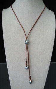 TAHITIAN GRAY BLACK PEARL & LEATHER CORD LARIAT NECKLACE ADJUSTABLE