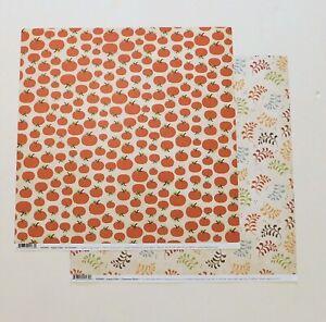 Fall Harvest Scrapbook Paper 2 Pages 12x12 Pumpkins Stripes Phrases Cardstock