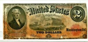 """$2 """"UNITED STATES NOTE""""(HORSEBLANKET) 1917 $2 """"JEFFERSON"""" 1917 LARGE SIZE"""