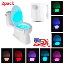 2-Pack: Toilet Night Light 8-Color LED Automatic Motion Sensing Seat Bowl USA