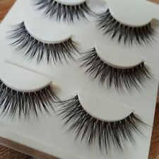 3 Pairs Black Natural Thick Long False Eyelashes Fake Sharpen Eye Lashes Makeup