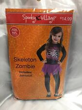Skeleton Zombie Halloween Costume Black Pink Day of Dead Jumpsuit  Dress Up Girl