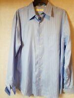Joseph Abboud Size 17 36/37 Men's French Cuff Blue Woven Stripe Dress Shirt