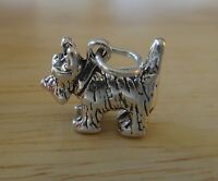 Sterling Silver 3D 12x15mm 3g Westie Cairn Scottie Terrier Dog with Collar Charm