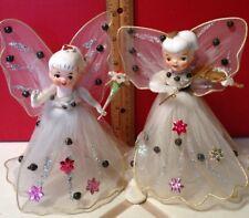 2 Vintage Japan Porcelain Headed Bejeweled Tulle Winged Angels As Tree Toppers!