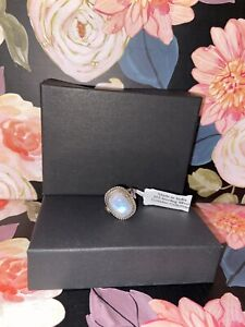 925 Sterling Silver Rainbow Moonstone Ring Size 7