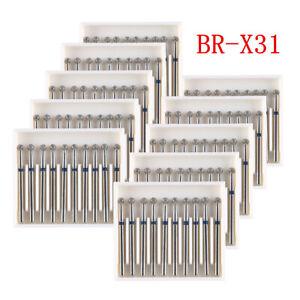 100Pcs AZDENT Diamond Burs For High Speed Handpiece BR-X31 Friction Grip 1.6mm