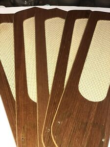 "Vintage Ceiling Fan Blades Teak With Cane Insert Reversible 3"" X 3"" X 4 1/4"" 52"""