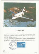 Grande carte (16x22cm) 1 er jour timbrée encart 1985 FALCON 900