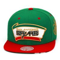Mitchell & Ness San Antonio Spurs Snapback Cap Gorra Green/Red/XL/Mexico Patch