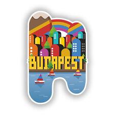 2 x Budapest Skyline Vinyl Stickers Travel Luggage #10406