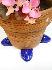 "POT FEET Ceramic Flower Planter Risers ""Birdfoot"" Design Royal Cobalt Blue set 4"